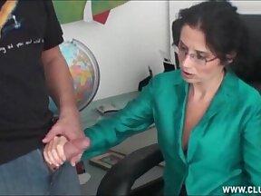 Milf handjob in the office